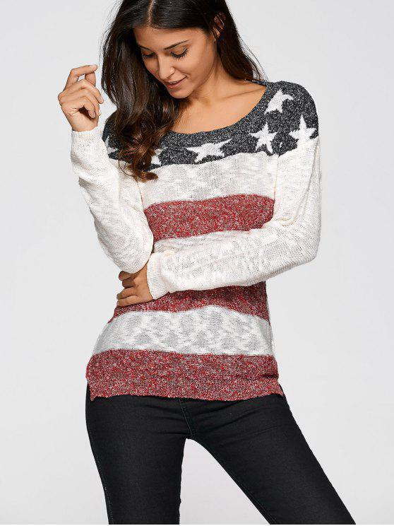 online Star Stripe Jacquard Knit Sweater - OFF-WHITE XL