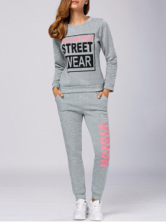 Vision Print Sweatshirt Sport Survêtement - Gris Clair M