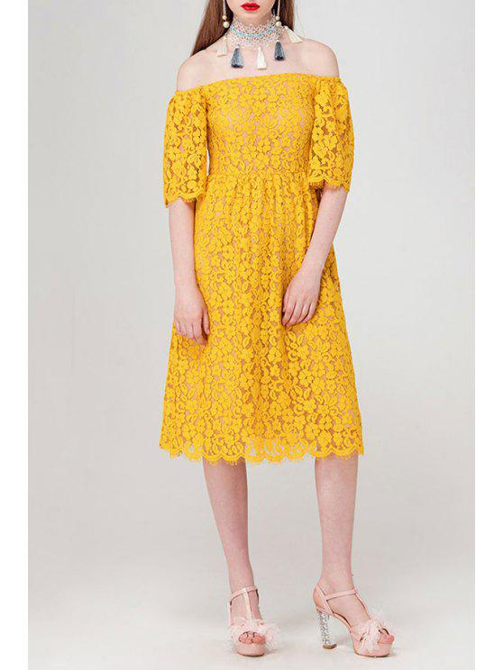 6456411eda4c 31% OFF  2019 Off The Shoulder Lace Midi Dress In DEEP YELLOW