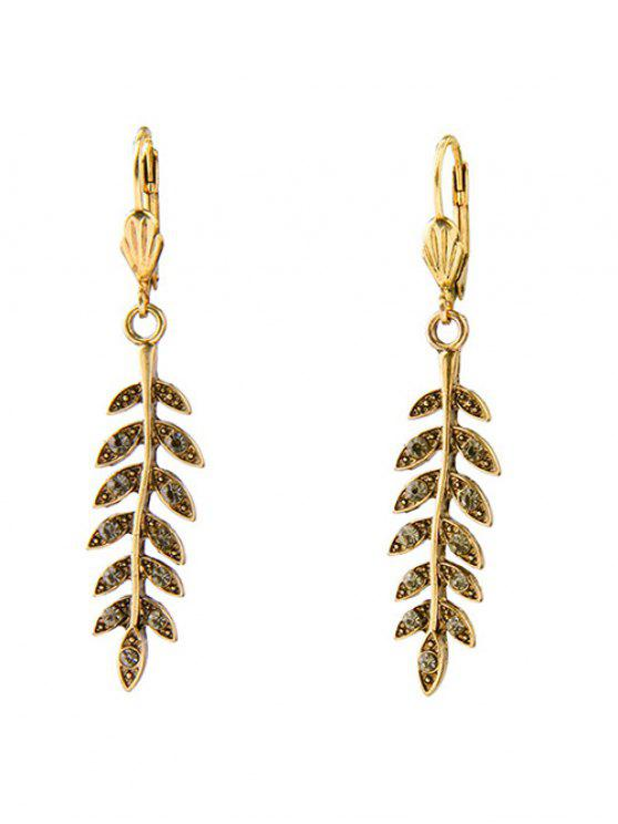 new Leaf Rhinestone Earrings - GOLDEN