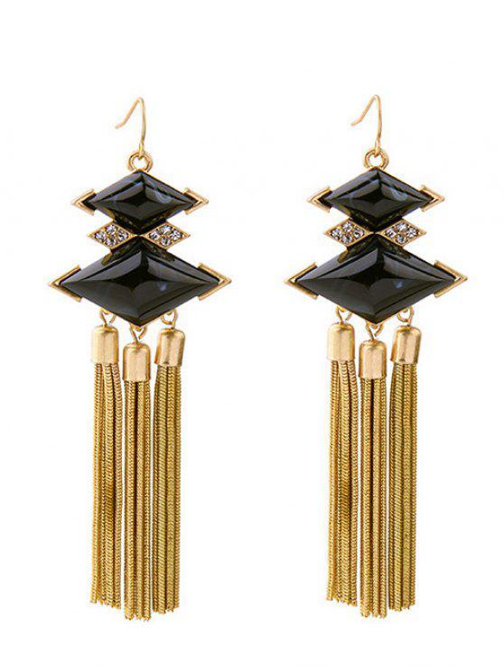 hot Rhombus Rhinestone Faux Gem Chain Tassel Earrings - BLACK