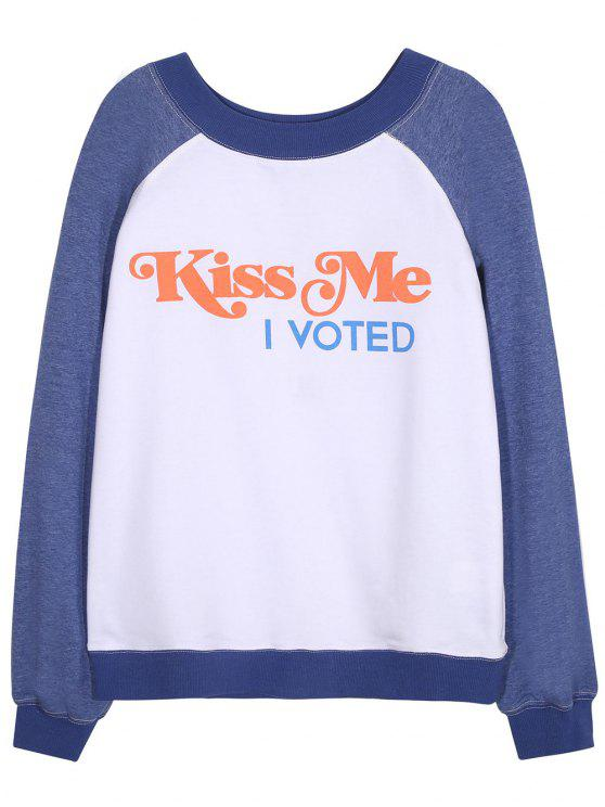 women Kiss Me Graphic T-Shirt - BLUE AND WHITE L