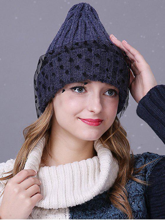da42b33345b7df 20% OFF] 2019 Heart Lace Flanging Knit Ski Hat In CADETBLUE | ZAFUL