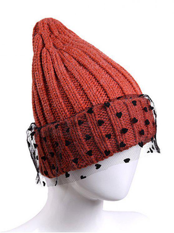 4eb1609e2af 2018 Heart Lace Flanging Knit Ski Hat In ORANGE RED