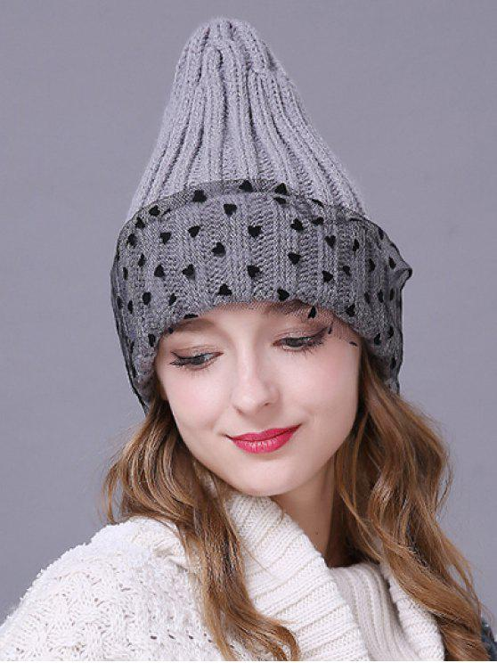 outfits Heart Lace Flanging Knit Ski Hat - LIGHT GRAY