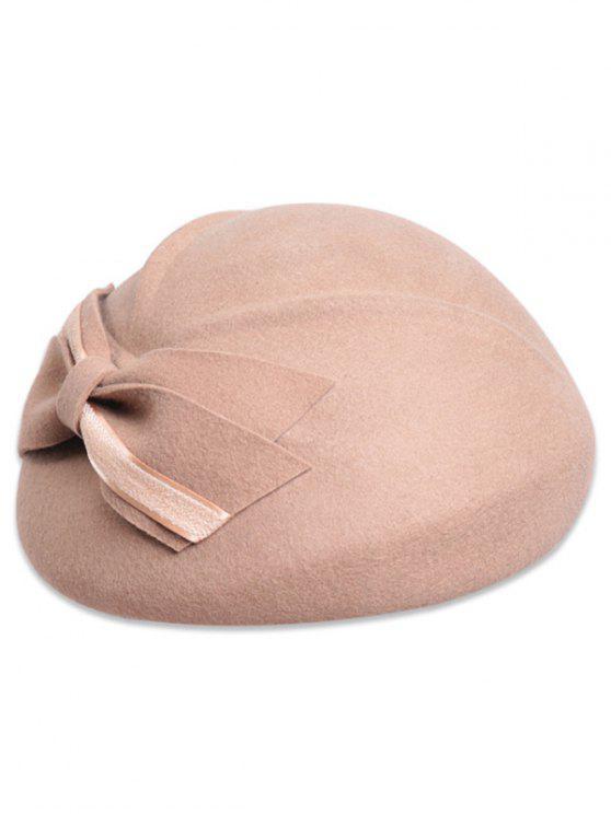 Haga doble cubierta del Bowknot de la boina de fieltro - Camel claro