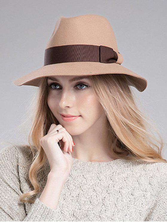 buy Bowknot Ribbon Felt Britain Hat - LIGHT CAMEL