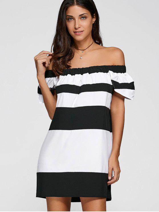 latest Off The Shoulder Color Block Mini Dress - WHITE AND BLACK M