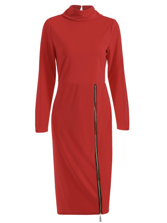 latest Turtle Neck Zippered Bodycon Dress - RED S
