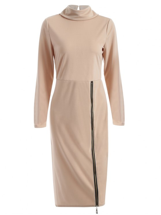 fancy Turtle Neck Zippered Bodycon Dress - APRICOT M