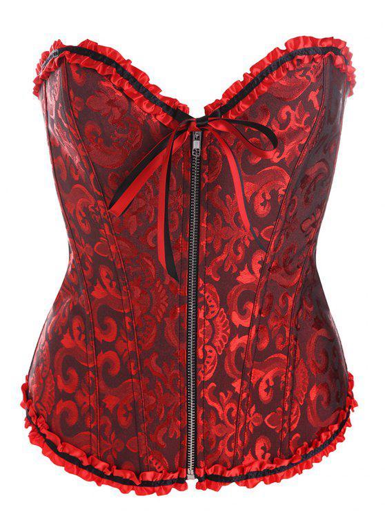 Retro zippé Lace Up Corset - Noir Rouge 6XL