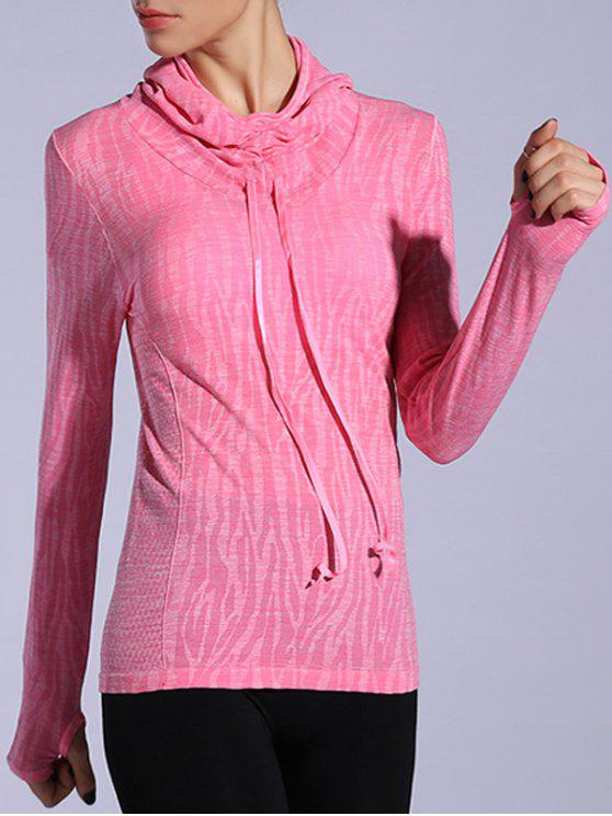 women Dry-Quick Heathered Drawstring Pink Hoodie - DEEP PINK M