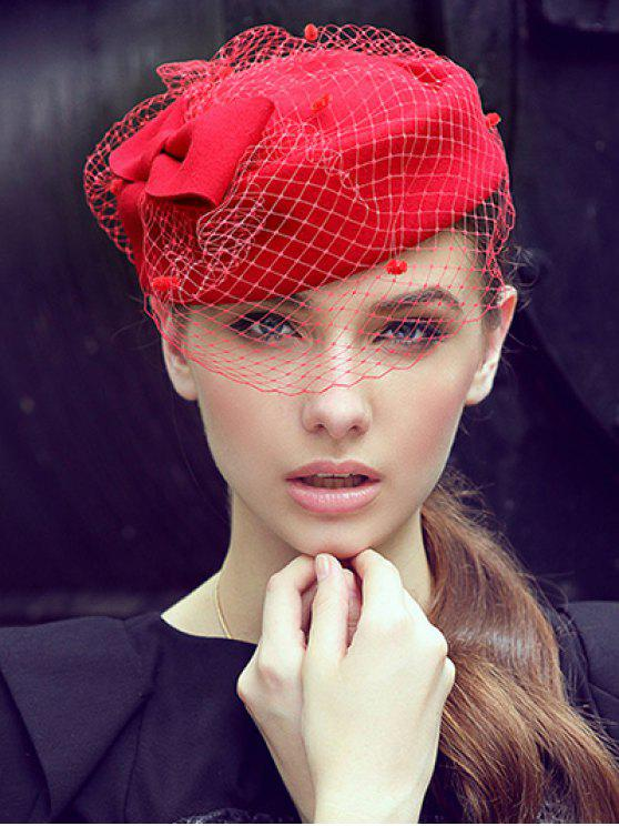 Bowknot Veil Felt Pillbox Hat - Rouge