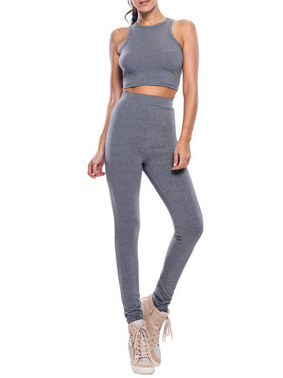 lady High Waist Pants Casual Crop Top Fitness Gym Outfits - GRAY M