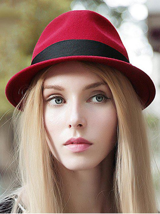 lady Wide Band Felt Jazz Hat - RED