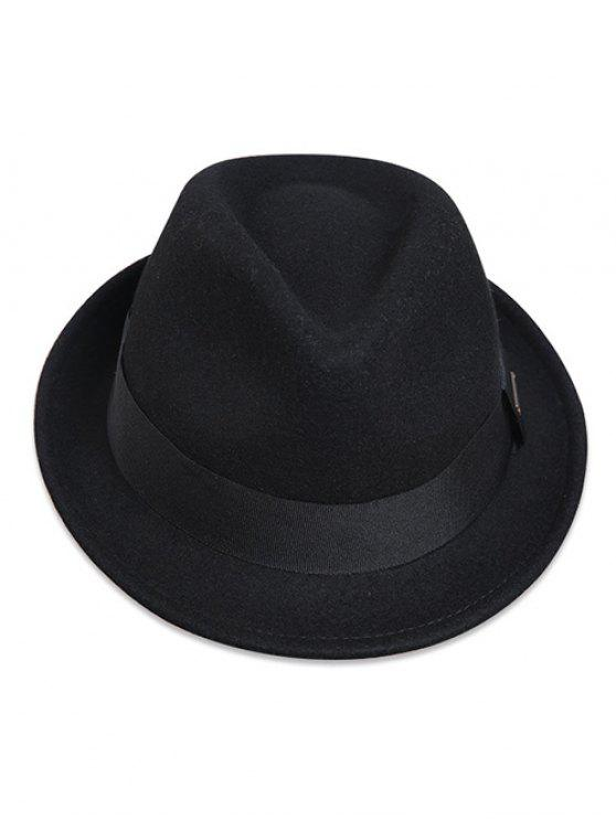 Wide Band Jazz sombrero de fieltro - Negro