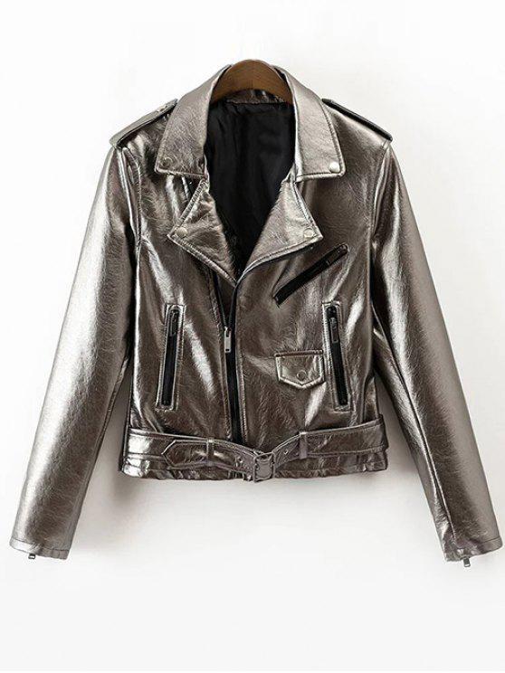 ladies PU Biker Jacket - SILVER L