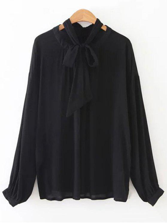 outfit Bowknot OL Sheer Blouse - BLACK S