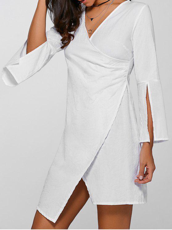 V-cuello asimétrico de la llamarada de la manga vestido de Sobrepelliz - Blanco XL
