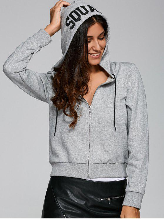 latest Zip-Up Letter Print Hoodie - GRAY S