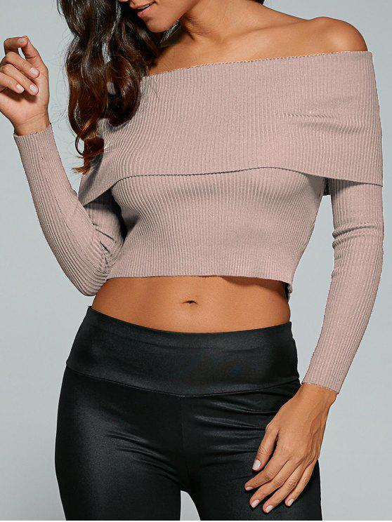 ladies Foldover Off Shoulder Jumper - NUDE PINK S