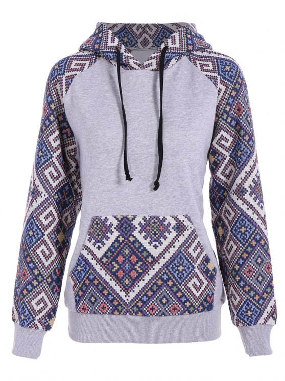 outfits Front Pocket Jacquard Panelled Hoodie - GRAY AND BLUE S