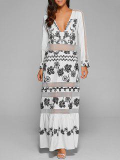 Robe Longue Avec Manches Et Empiècements En Tulle  - Blanc S