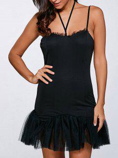 Tulle Mini-robe Jupe - Noir L
