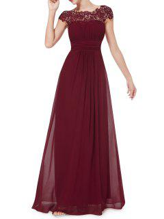 Open Back Lace Evening Dress - Wine Red S