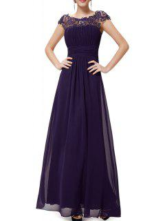 Open Back Lace Evening Dress - Deep Purple S