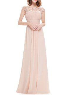 Open Back Lace Evening Dress - Apricot S