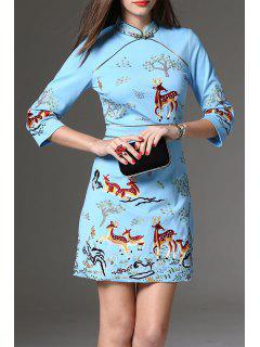 Embroidered Cheongsam Mini Dress - Light Blue S