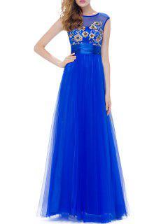 Flower Embroidered Gauze Evening Dress - Blue 2xl