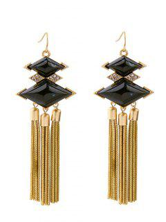 Rhombus Rhinestone Faux Gem Chain Tassel Earrings - Black