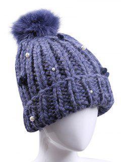 Fuzz Ball Faux Pearl Knit Ski Hat - Deep Blue