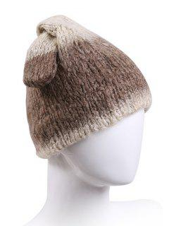 Knotted Rabbit Ear Knit Hat - Light Brown