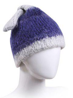 Knotted Rabbit Ear Knit Hat - Cadetblue