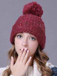 Big Ball Faux Pearl Knit Ski Hat - Wine Red