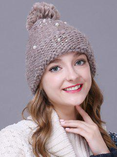 Big Ball Faux Pearl Knit Ski Hat - Griege