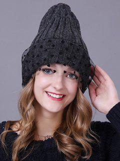 Heart Lace Flanging Knit Ski Hat - Black Grey