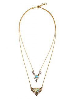 Faux Gem Strass Collier Layered - Or