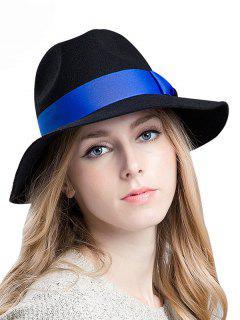 Bowknot De La Cinta De Fieltro Sombrero Bretaña - Negro