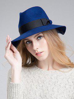 Bowknot Ribbon Felt Britain Hat - Sapphire Blue
