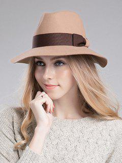 Bowknot Ribbon Felt Britain Hat - Light Camel