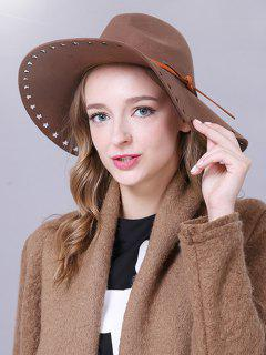 Lace-Up Star Brim Felt Britain Hat - Camel