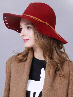 Lace-Up Star Brim Felt Britain Hat - Deep Red