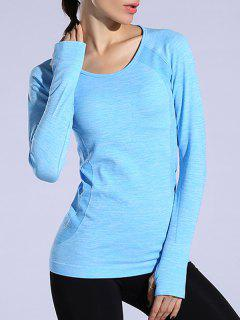 Gloved Long Sleeve Quick Dry T-Shirt - Azure L