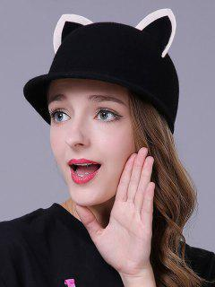 Felt Cat Ear Horseman Hat - Black
