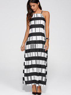 Striped Cami Maxi Dress - White And Black S