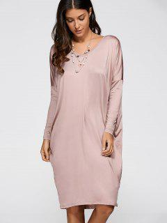 Lâche Asymmetric V Neck Dress - Rose Clair